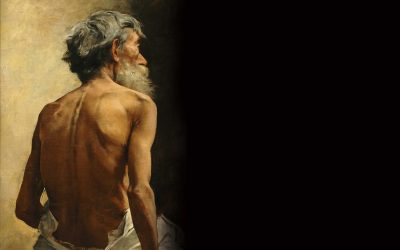 Viejo de espaldas